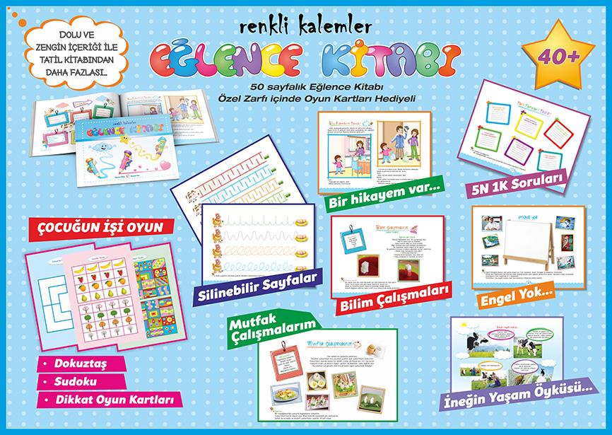 renkli kalemler tatil ve eğlence kitabı