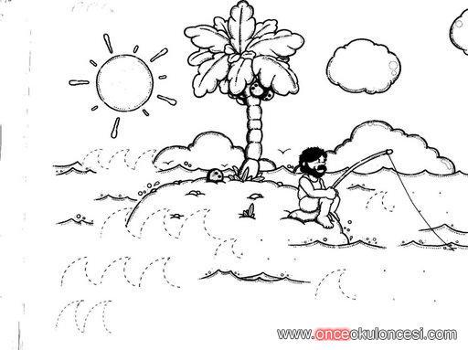 Yaz Mevsimi Ile Ilgili çizgi Tamamlama çalışması