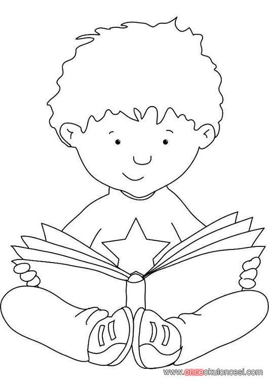 Kitap Okuyan çocuk Boyama Sayfası