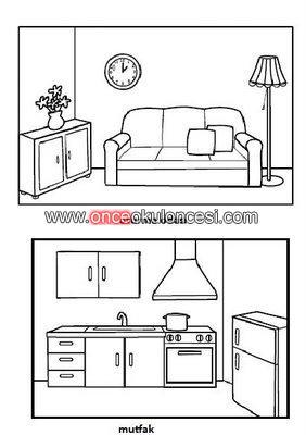 Evin Bölümleri Boyama Sayfaları