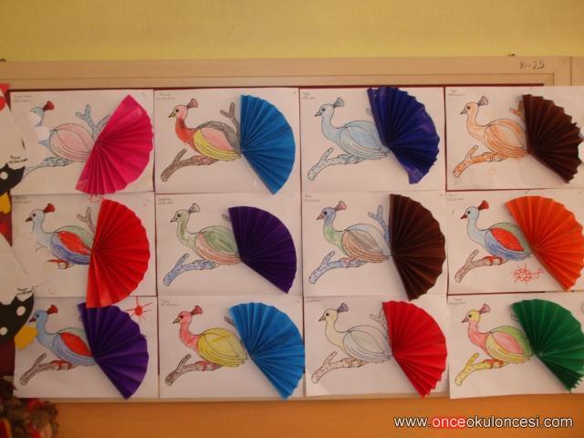 Renkli Eliişi Kağıtlarından Yelpaze Kuyruklu Tavus Kuşu