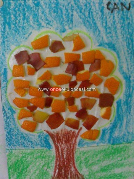Elma Ve Portakal Kabuklarından Meyve Ağacı