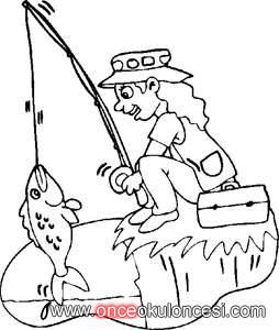 Balık Tutan çocuk Boyaması