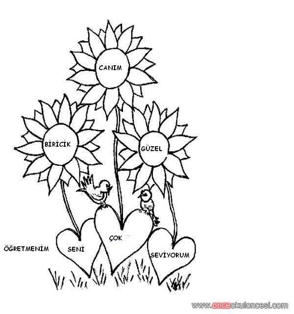 öğretmenler Günü Için Boyamaçiçek