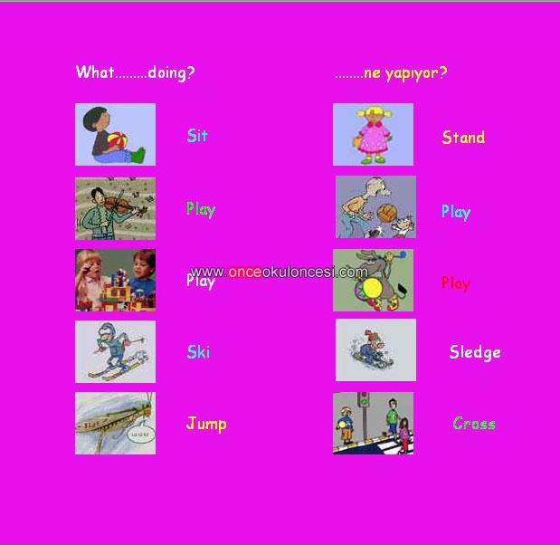 Çocuklar için ingilizce kartlar