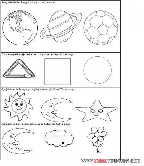 Uzay Ve Gökyüzü Veya Bilim Ile Ilgili Okuma Yazamaya Hazırlık Acil