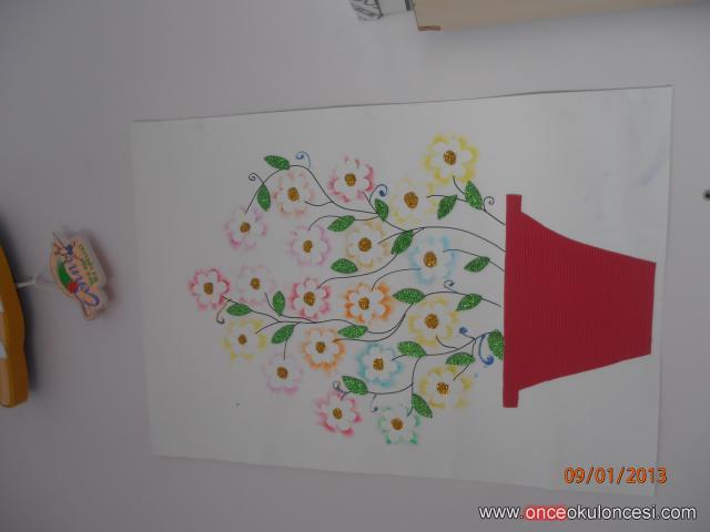 Yansıtma Boyama Tekniğiyle Saksıda çiçek