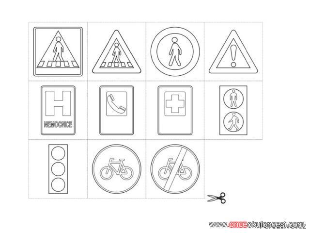 Trafik Işaretleri Flash Kart Kalıpları