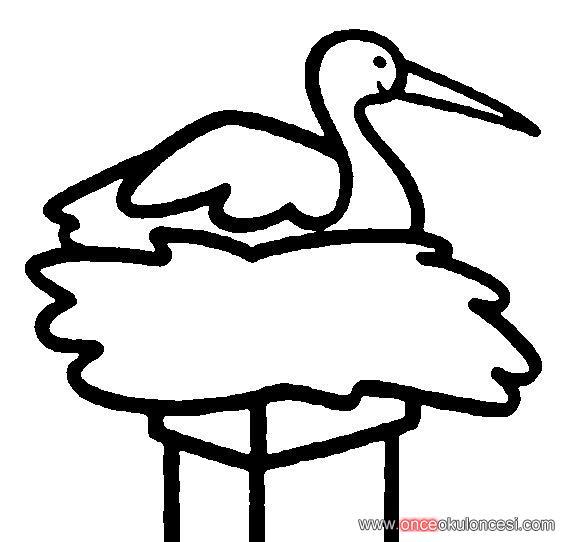 Göç Eden Kuşlardan Leylekler Boyama Sayfası