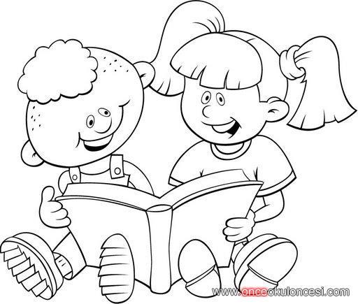 Kitap Köşesi Içinkitap Okuyan Hayvanlar Ve çocuklar Boyama Sayfası