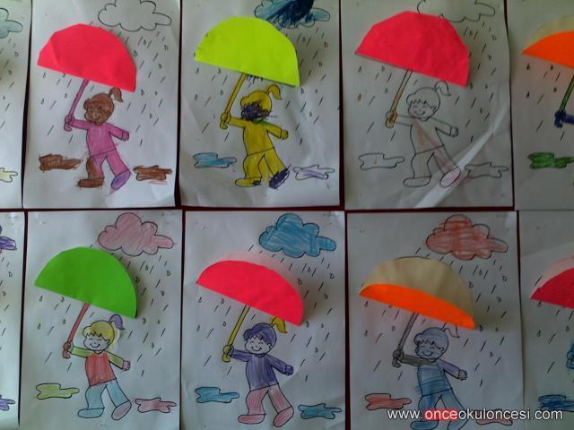 Küçük Yaş Grubundan şemsiyeli çocuklar