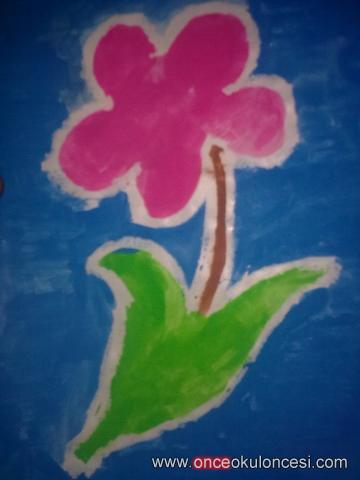 Mum Boya Tekniği Ile çiçek Ve Penguen