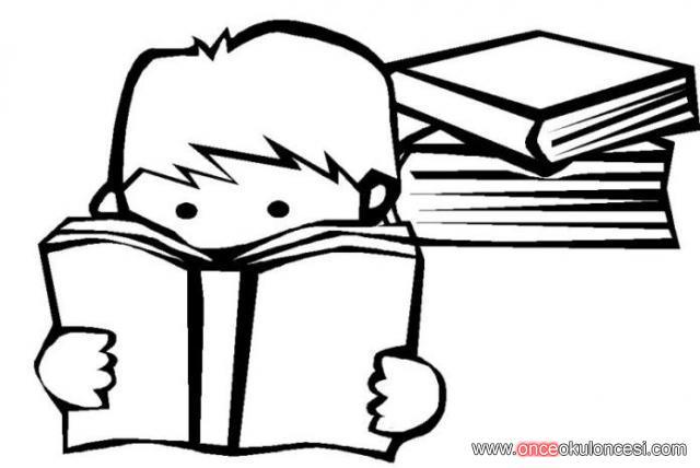 Kitap Okuyan çocuk 2 Boyama