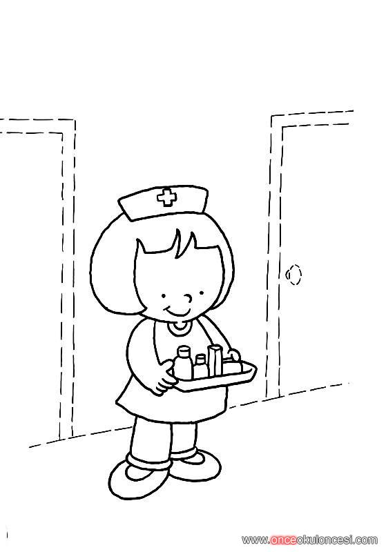 Hemşire Boyama Sağlığımız Için çalışanlar