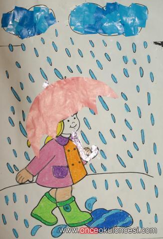 Yağmurda Yüreyen Kız Yırtma Yapıştırma Boyama Kalıplı