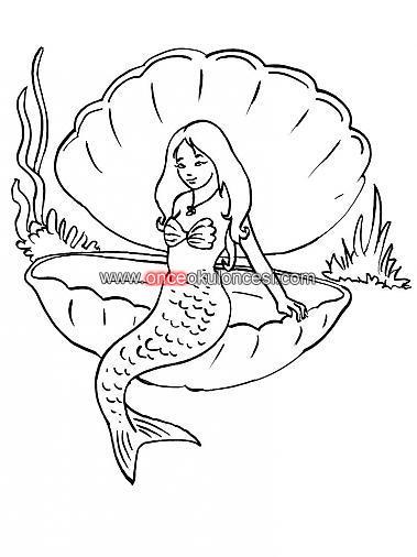 Deniz Kızı Ve Istiridye Boyama Sayfaları Arıyorum