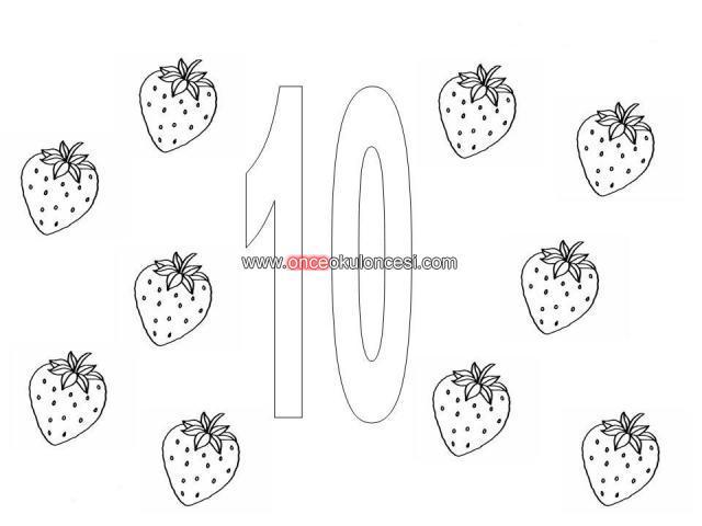 çilekli Sayılar 1 10 Arası Boyama şeklinde