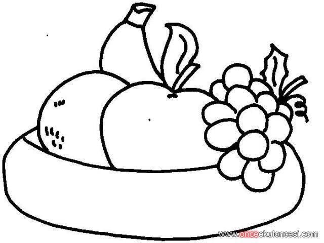 Meyve Tabağı Boyama Sayfaları