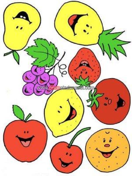 Gulen Yuzlu Kucuk Renkli Meyveler Ve Boyamalari