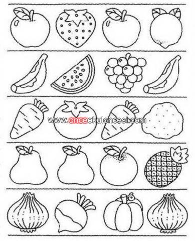 Meyveleri Eslestirmeyle Ilgili Calisma Sayfasi