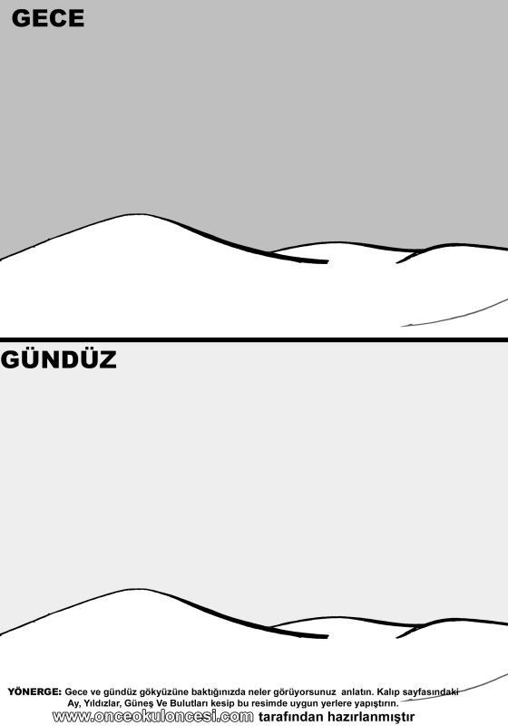 Gece Gunduz Kavrami Ile Ilgili Etkinlik Kalipli