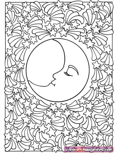 Ay Ve Yildizlar Boyama Sayfasi