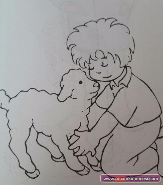 Kuzu Ve Köpek Sevgisi Boyama