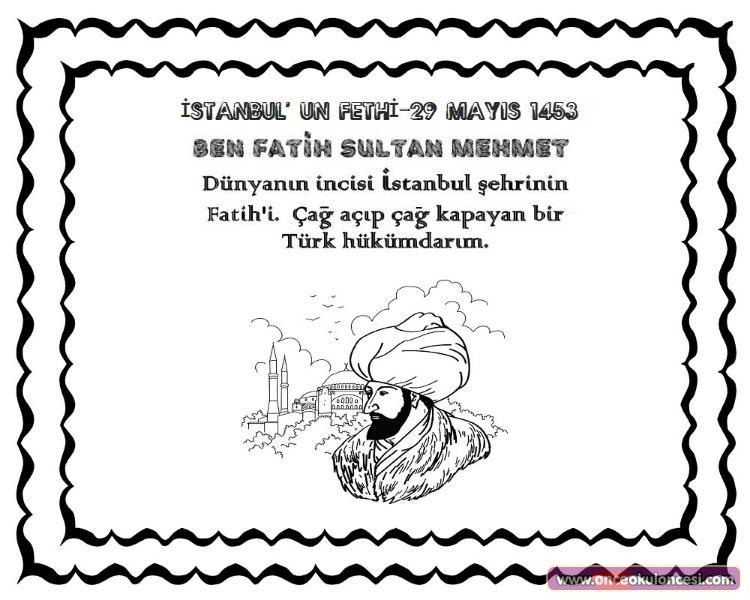 Fatih Sultan Mehmet Istanbul Un Fethi Boyama Sayfasi