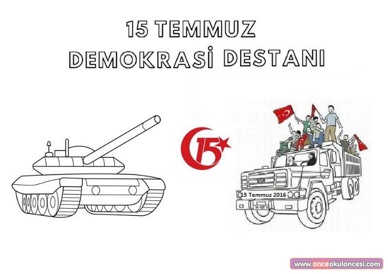 15 Temmuz Demokrasi Destani Boyama Sayfasi