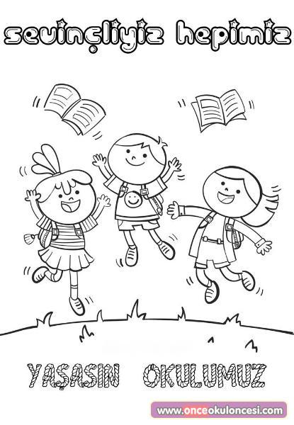 Yaşasın Okulumuz Boyama Sayfası