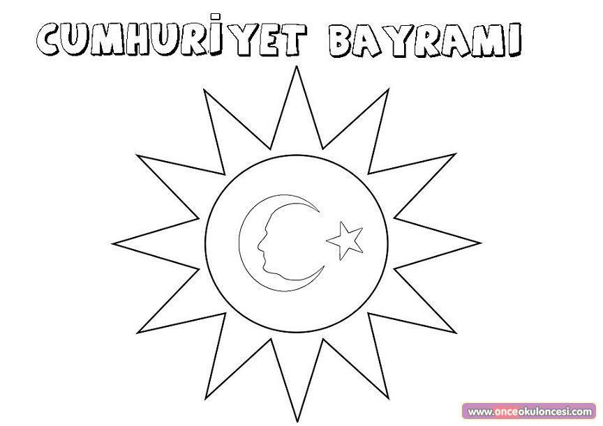 Cumhuriyet Bayramı Boyama Sayfası