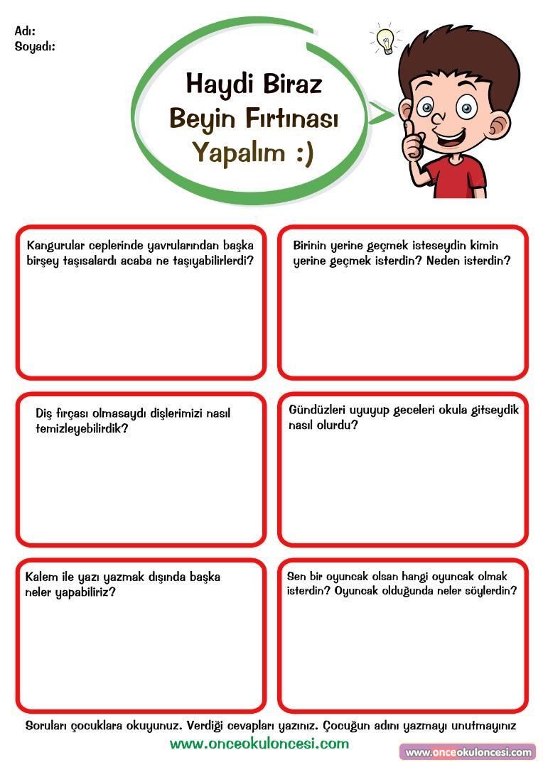 Okul Oncesi Beyin Firtinasi Sorulari Sayfasi