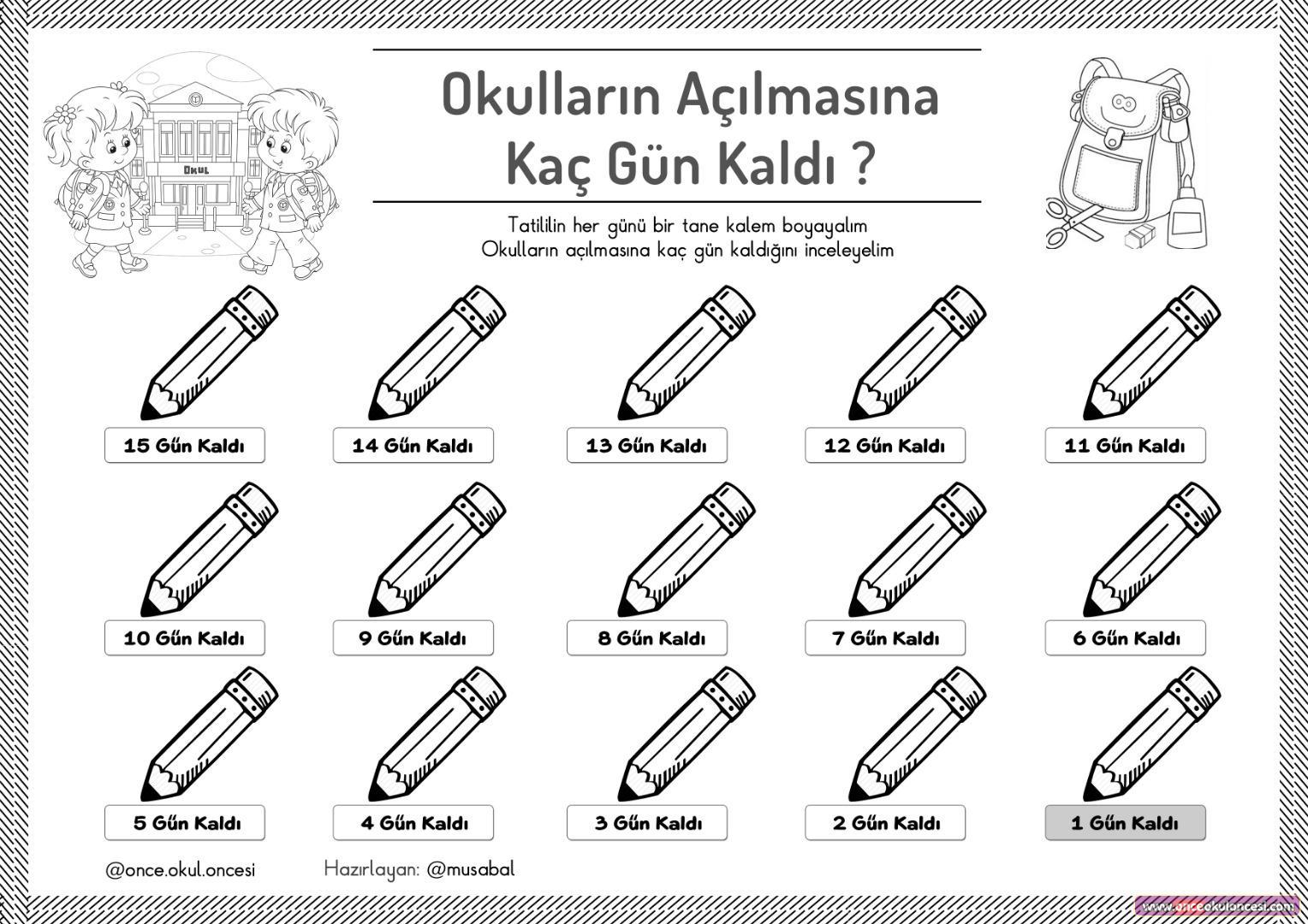 Yariyil Tatilinde Okullarin Acilmasina Kac Gun Kaldi Boyama Kaliplari