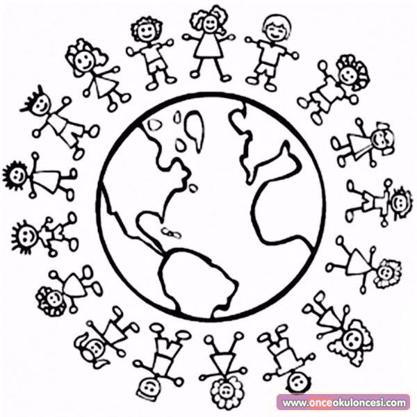 Dünya Etrafında çocuklar Boyama