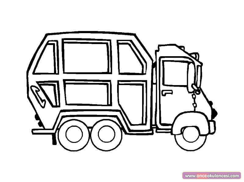 çöp Kamyonu Boyama Sayfası