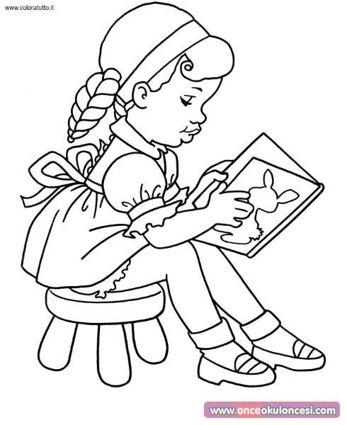 Kitap Okuyan Sevimli Cocuklar Boyama Sayfalari