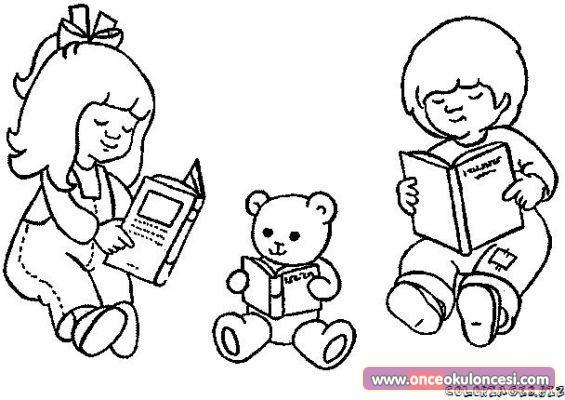 Kitap Okuyan Sevimli çocuklar Boyama Sayfaları