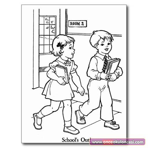 Kütüphaneye Giden çocuklar Boyama Sayfası