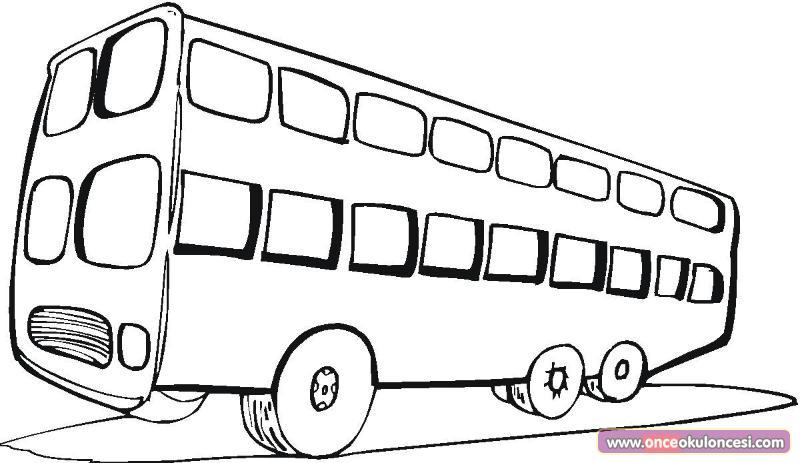 Turist Otobüsleri Boyama Sayfası