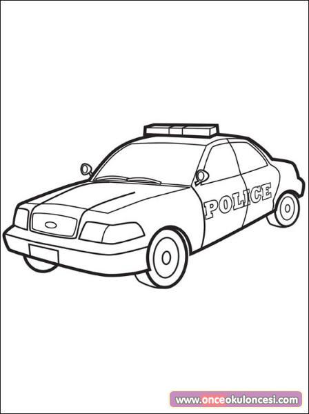 Polis Arabalari Boyama Sayfasi