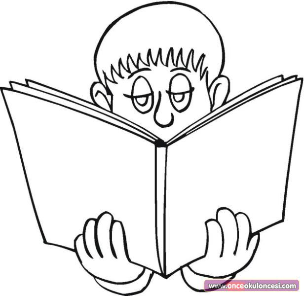 Okumak Güzeldir Kitap Okuyan çocuk Boyamaları