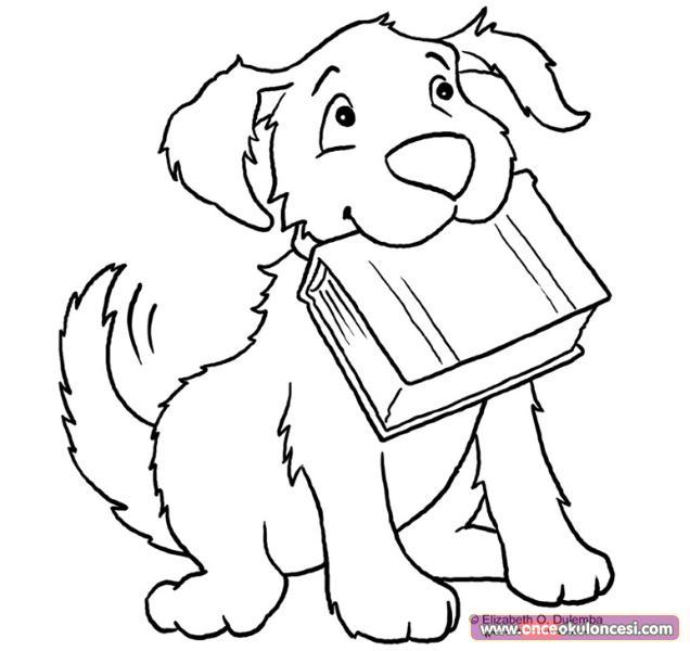 Kitap Taşıyan Köpek Boyama Sayfası