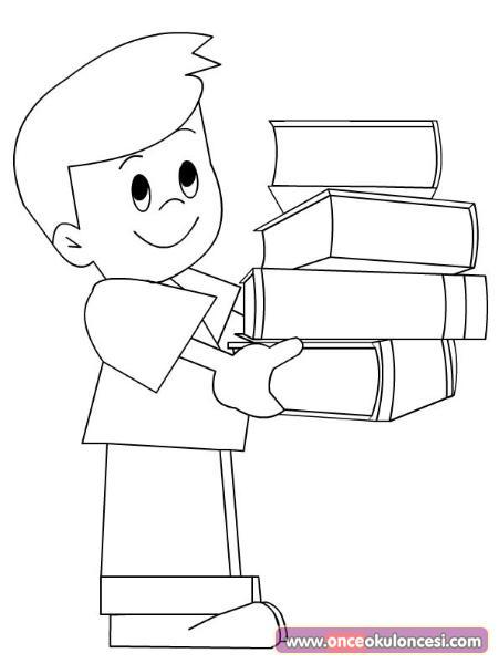 Kitap Taşıyan çocuk Boyama Sayfası