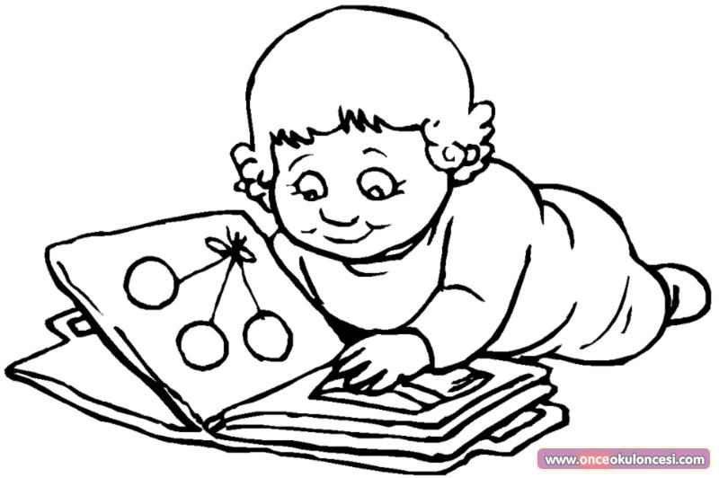 Ocuklar kitap okuyor boyama sayfalar for Disegno bambina da colorare