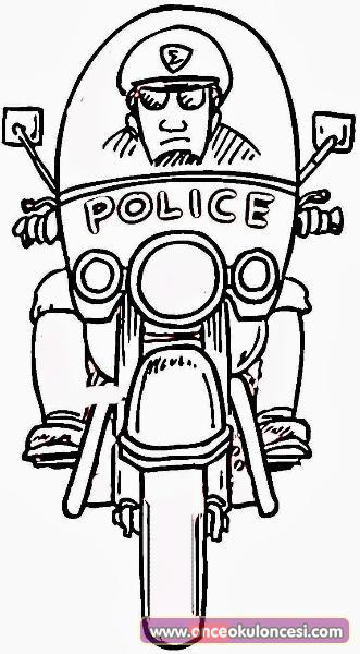 Polisler Konulu Boyama Sayfaları
