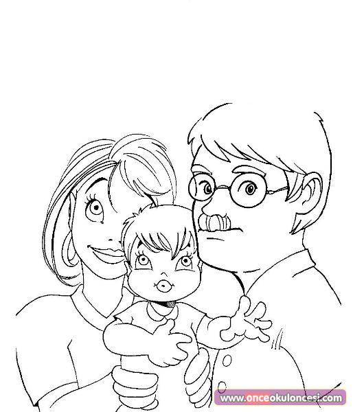 Aile Konulu Boyama Sayfalari