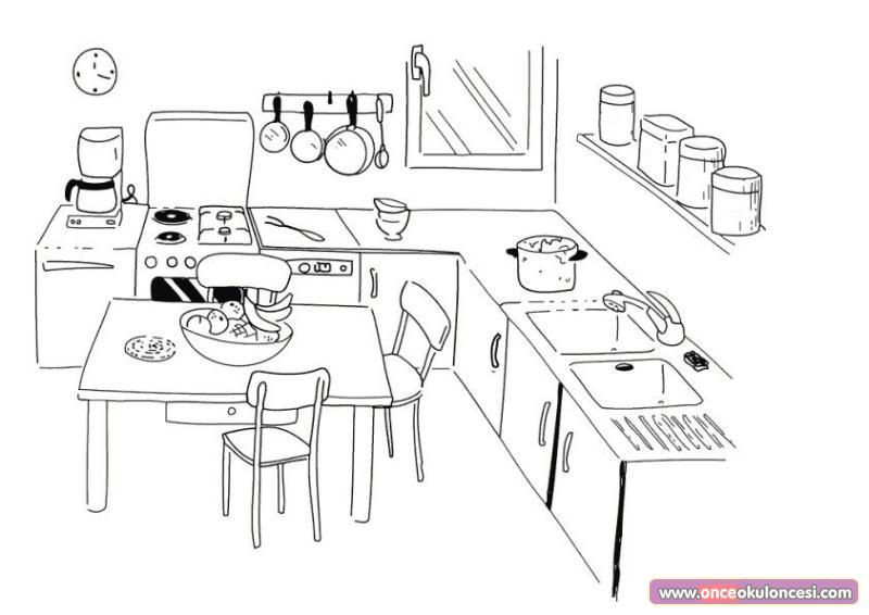 Mutfak Boyama Sayfaları