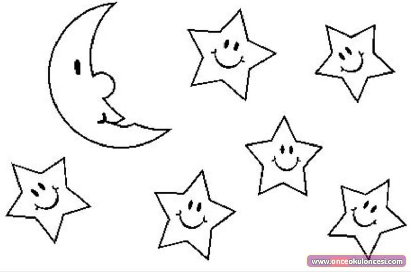 Ay Yıldızlar Gece Boyama