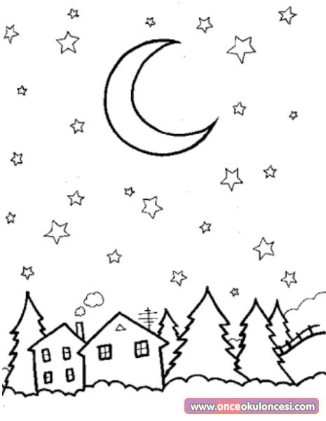 Ay Yildizlar Gece Boyama