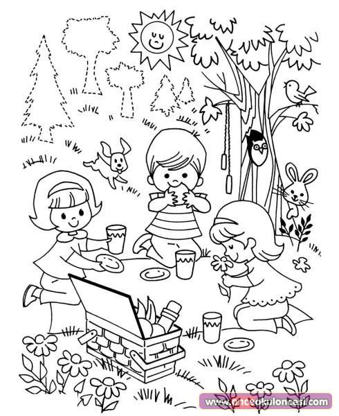 Piknik Boyama Sayfası
